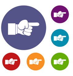 pointing hand gesture icons set vector image