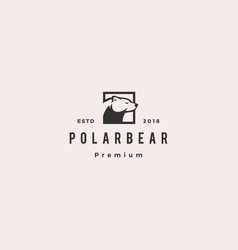 polar bear logo hipster retro vintage icon vector image