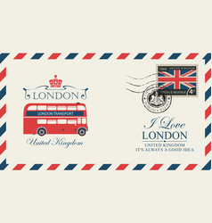 Postcard or envelope with london double decker vector