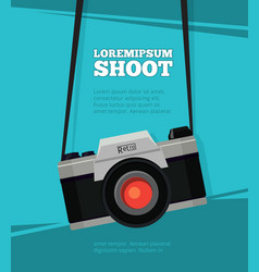 poster with retro photo camera vector image