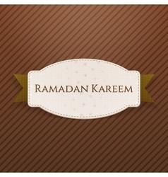 Ramadan kareem greeting badge with text vector