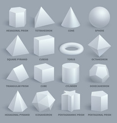 realistic white basic 3d shapes set vector image