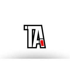 Red and black alphabet letter ta t a logo vector