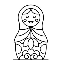 russian nesting girl icon outline style vector image