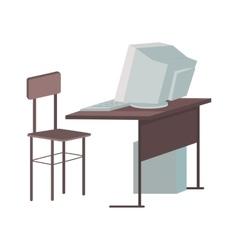 School Desk with Desktop Computer vector image
