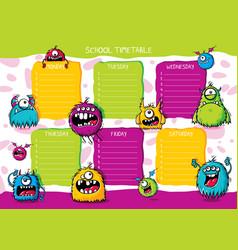 School timetable furry monsters vector