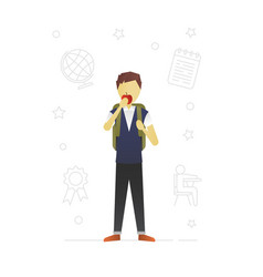 Schoolboy eating apple flat character design vector