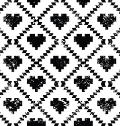 Seamless aztec tribal pattern with hearts - grunge vector