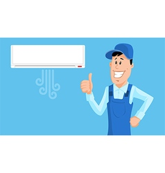 Service Man with Air conditioner vector