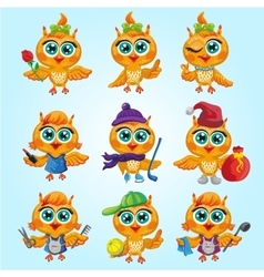 Set of cute owls Cartoon characters of vector