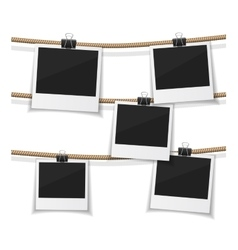 Set of photo hanged on rope Realistic vector image