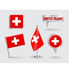Set of swiss pin icon and map pointer flags vector