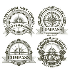 Set of vintage compasses vector