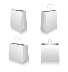 Set of White Shopping Bags vector