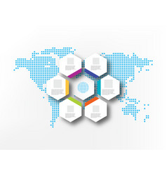 seven white hexagons on background abstract vector image