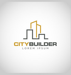 simple line urban property logo vector image