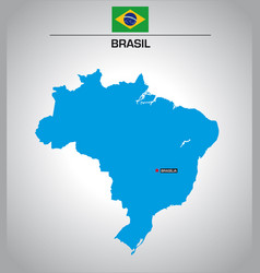 simple outline map brazil with flag vector image