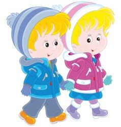 Small children walking vector image