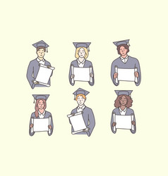 Studentship graduation diploma multiculture set vector