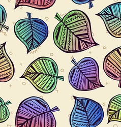 Summer pattern with color leaf nature background vector