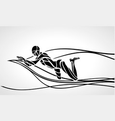 Swimmer breaststroke black silhouette vector