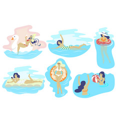 swimming beach girls flat isolated vector image