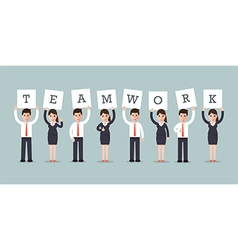 Teamwork businessmen and businesswomen vector