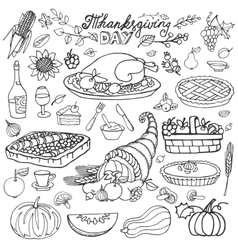 Thanksgiving daydoodle food iconslinearset vector