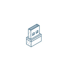 usb flash drive isometric icon 3d line art vector image