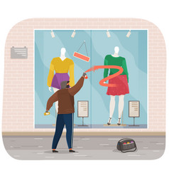 vandal spoils window a closed store masked vector image