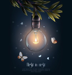 Vintage glowing light bulbs poster vector