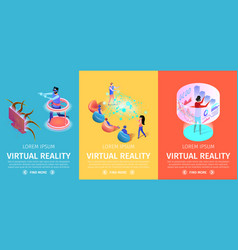 virtual reality set vertical banners vr games vector image