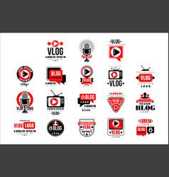 vlog and blog original logo design set video vector image