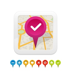 white gps navigator icon with labels vector image