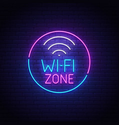 Wi-fi neon sign wi-fi zone logo neon emblem vector