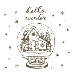 winter snow globe with house and snow inside cute vector image