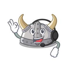 With headphone viking helmet in a cartoon vector
