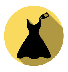 woman dress sign with tag flat black icon vector image