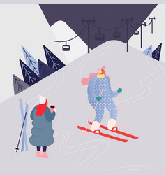 woman skiing in mountains people character vector image