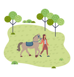 Woman walking with horse in park summertime vector