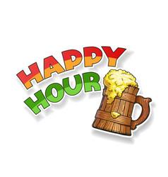 wooden beer cup mockup vector image