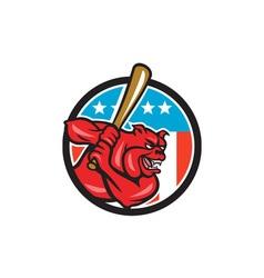 Bulldog Baseball Batting USA Circle Cartoon vector image