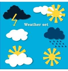 Flat design weather icons set vector image vector image