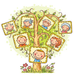 happy family tree in pictures vector image vector image