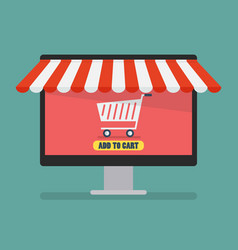 shopping online by computer vector image vector image