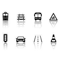 transport icons set with reflection silhouette vector image vector image