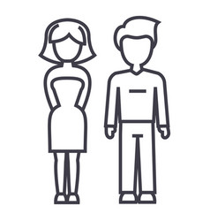 young successful couple man and woman line vector image