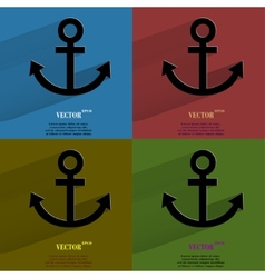 Color set Anchor Flat modern web button with long vector image