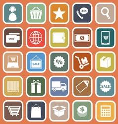 E commerce flat icons on orange background vector image vector image