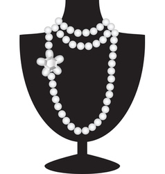 pearl necklace on black mannequin vector image vector image